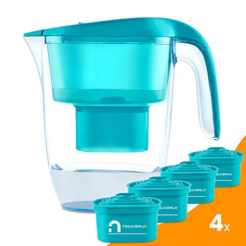 NOUVEAUX Water Filter Jug with 4×90 Days Filter Cartridges That Helps with Removal of Bacteria,Odour,Rust and The Reduction of Limescale and Chlorine to Improve Taste. BPA Free