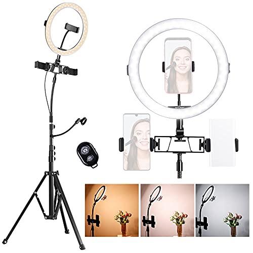 LED Ring Light K&F Concept 11 pouces LED Lumière Anneau, Trépied d'Eclairage couleur Réglable, Récepteur Bluetooth, Sécurité USB, Support de 3 Téléphone pour Smartphone Youtube Vidéo TikTok Maquillage