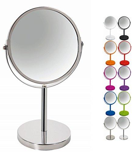 """Spirella Schminkspiegel Kosmetikspiegel Standspiegel Badezimmerspiegel""""Sydney"""" 2-Fach Vergrößerung - Ø 17cm - Silber glänzend"""