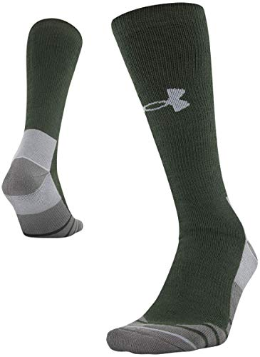 Under Armour Adult Hitch Rugged Boot Socks, 1-Pair, Combat Green/Steel, Shoe Size: Mens 8-12, Womens 9-12