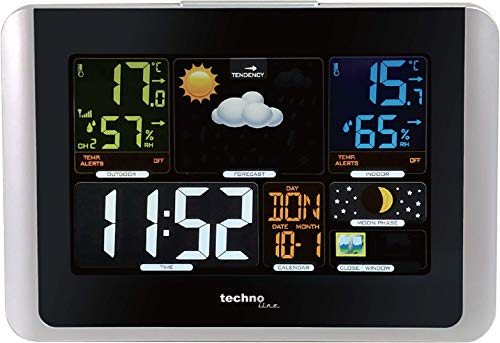 Technoline WS6442 moderne Wetterstation, gut ablesbares Display, sehr übersichtlich, silber, schwarz