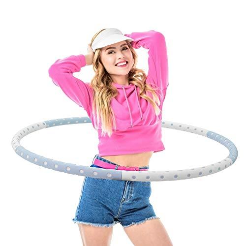 Creatck Fitness Exercise Hoop, Ring Reifen Erwachsene Zur Gewichtsreduktion und Massage Verwendet Werden KöNnen,6 Segmente Abnehmbarer Hoola Hoop Geeignet Für Fitness/Sport/Zuhause/BüRo/Bauchformung