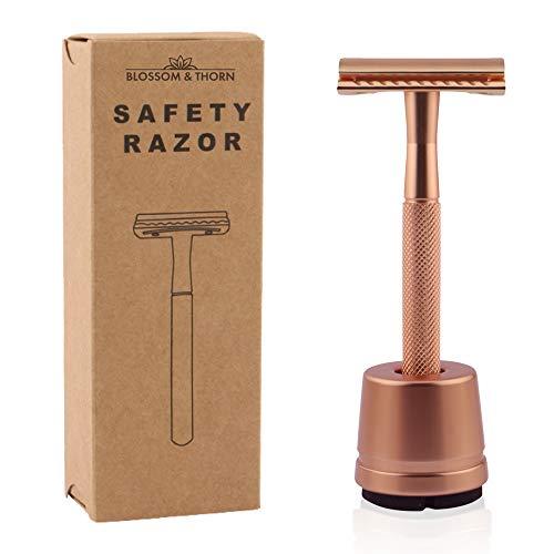 Rasierhobel Damen | Safety Razor mit Ständer und Rasierklinge | Rasierhobel Frauen |Zero Waste Rasierer (Rosé)