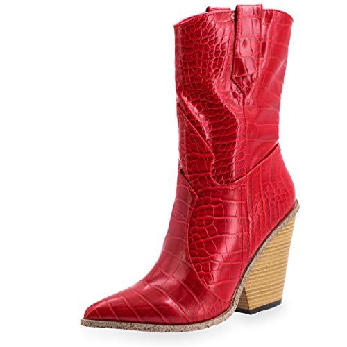 Marimo Damen Western Cowboy Stiefel Stiefeletten Boots Kroko-Look Lederoptik Blockabsatz Rot 40