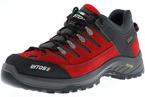 LYTOS Damen Herren Wanderschuhe Trekkingschuhe Vibram-Sohle rot/grau, Größe:40, Farbe:Rot