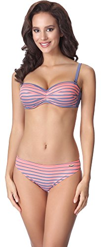 aQuarilla Damen Bikini Set AQ135(Graublau/Lachs, 36)