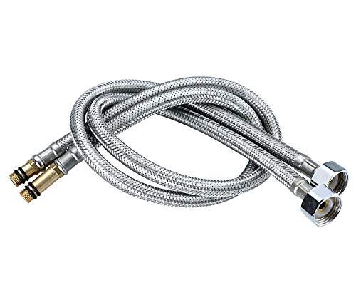 Homovater Juego de 2 conectores monoblocos para grifo de manguera flexible M10 1/2 BSP para grifos de lavabo y cocina MonoBlock