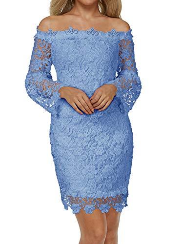 Auxo Damen Schulterfreie Langarm Kleider mit Spitze Elegant Blumen Kurz Abend Etuikleid Blau EU 40/Etikettgröße L