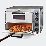 Forno per pizza professionale con doppia camera in acciaio inox, 3000W, 350°C Fornetto...