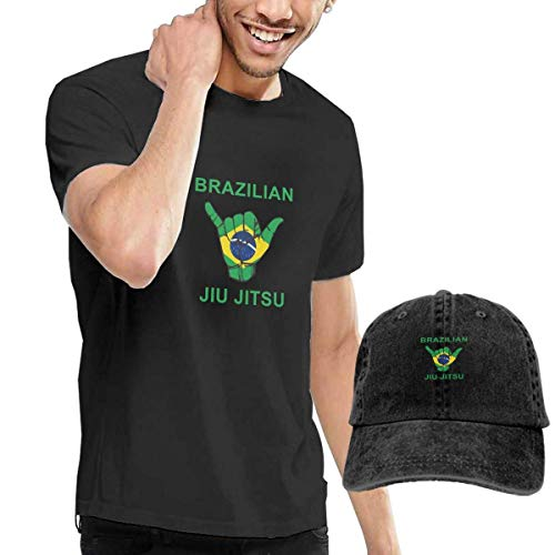 LYZBB Camisetas y Tops Hombre Polos y Camisas,Brazil BJJ Shaka Hand Adult Round Neck Short Sleeve T Shirts Black and Adjustable Cowboy Hat