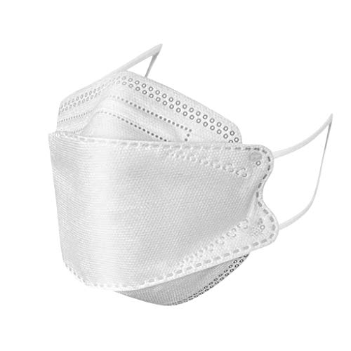 50Pcs White KF94 Face Mẵsk,Adult 4 Layers Non-woven Face Protection Covering,FDẴ Certified Coronàvịrụs,Comfortable & High Filtration &Ventilation&Prevent Fogging