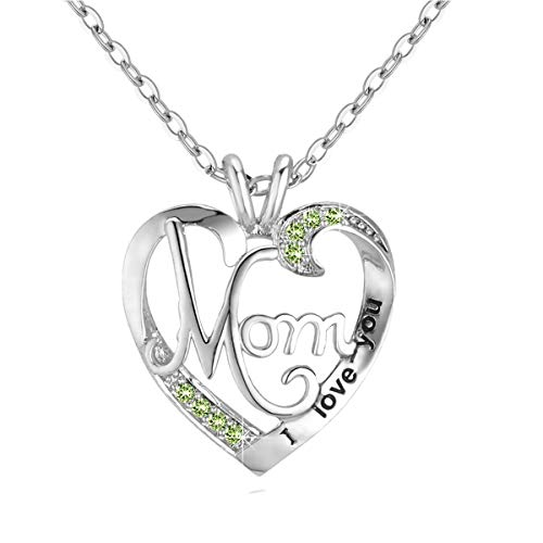 DXZN I Love You Mom Love Heart Necklace 925 Sterling Silver Rhinestone Necklace for Mom Jewelry Gift for Mother