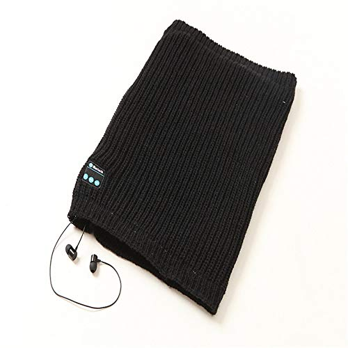 KCJMM Bluetooth gebreide sjaal, voor herfst en winter, draadloos, stereo, Bluetooth, Zwart