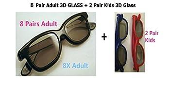 Beyution New 8 Pairs Adult + 2 Pair Kids Passive 3D Glass Glasses  Total 10 Pair Passive 3D Glasses  with Polarized Plastic Lenses for Vizio LG Hisense Haier Toshiba Seiki Sceptre JVC 3D TV