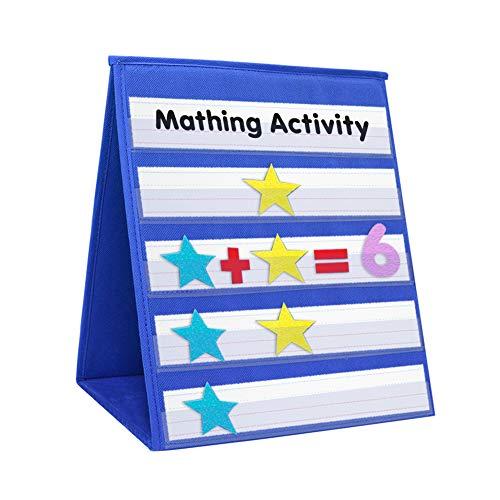 godery de mesa tabla de bolsillo, doble cara & polivalente Pocket Chart-números y palabras actividades, clase, familia herramienta educativa