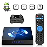 TV Box Android 10.0, QPLOVE Q6 Android TV Box【4GB 64GB】H616 Quad Core 2.4G/5G WiFi BT 5.0 3D 6K HD Smart TV Box Con Mini Wireless Backlit Keyboard