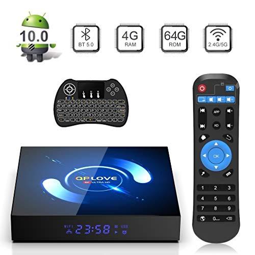 TV Box Android 10.0, QPLOVE Q6 Android TV Box【4GB 64GB】H616 Quad Core 2.4G/5G WiFi BT 5.0 3D 6K HD Smart TV Box Con Mini Wireless Backlit Keyboard