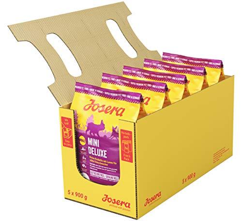 JOSERA MiniDeluxe, getreidefreies Hundefutter für kleine Rassen mit Lamm und Süßkartoffel, Super Premium Trockenfutter für ausgewachsene Hunde, 5er Pack (5 x 900 g)