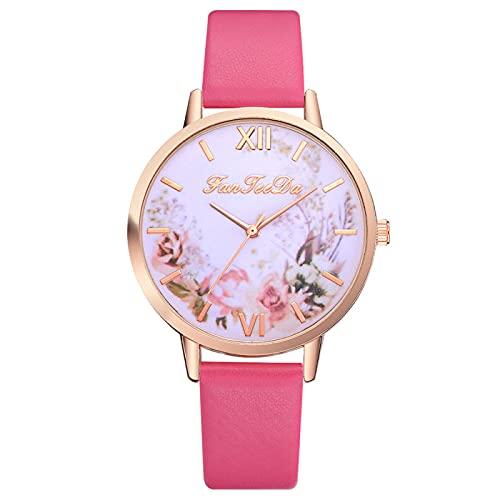 ANLKUJHF Moda Clásico Mujeres Casual Cuarzo Estudiante Pareja Relojes imitación Cuero Banda Acero inoxidable Reloj de pulsera redondo Reloj analógico Regalo de cumpleaños (rojo)