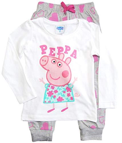 Peppa Wutz Schlafanzug Mädchen Pyjama Peppa Pig Lang (Weiß-Grau, 92)