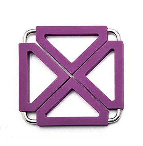 Creative Dessous de Verre en acier inoxydable Coque en silicone Isolation Pad violet