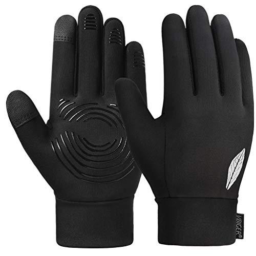 VBIGER Kinder Handschuhe Touchscreen Laufen Handschuhe Radhandschuhe Anti-Rutsch Winterhandschuhe Warm Winddicht für Jungen und Mädchen (Schwarz, L(10-12 Jahre alt))
