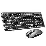 TOPELEK Tastatur Maus Set Kabellos, 2.4GHz QWERTZ Deutsches Layout, Funktastatur mit Maus,...