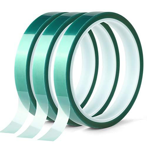 3 Rollen Polyester-Hochtemperatur-Abdeckband, PET-Klebeband mit Silikonkleber, ideal für Malerei, Pulverbeschichtung, Eloxierung, Leiterplatten, 3D-Drucker (1,27 x 25 m)