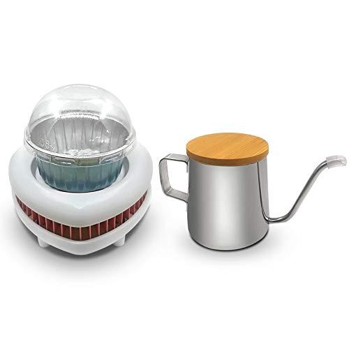 JIADUOBAO Enfriador portátil de la taza del café con la taza del pudín de aluminio y la jarra de aluminio para la oficina del hogar al aire libre, blanco