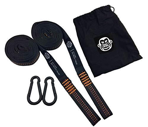 Monkey Swing Hängematte Aufhängeset Befestigungsset >300kg Traglast,2X Karabiner + Schlingen im Tragebeutel - leicht, strapazierfähig,robust-dreifach vernäht I für Schaukel, Garten, Camping