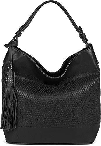 styleBREAKER Damen Hobo Bag Handtasche mit Cutouts in Rauten Form und Quaste, Shopper, Schultertasche, Tasche 02012285, Farbe:Schwarz
