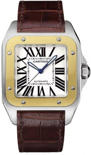Cartier Men's W20072X7 Santos 100 XL Automatic Yellow Gold Stainless Steel and Leather Watch