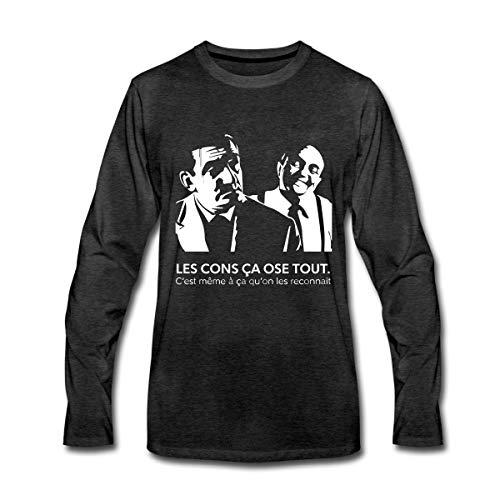 Spreadshirt Les Cons Ça Ose Tout Citation Lino Ventura T-Shirt Manches Longues Premium Homme, S, Charbon