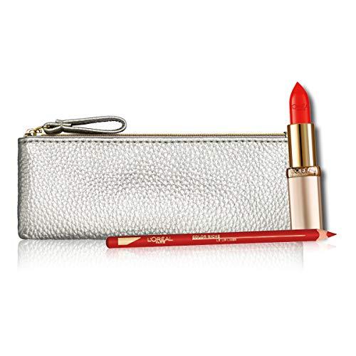 L'Oréal Paris Idea Regalo Donna Natale 2020, Pochette Labbra con Rossetto Color Riche Satin 377 e Matita Labbra Color Riche Lip Liner 125
