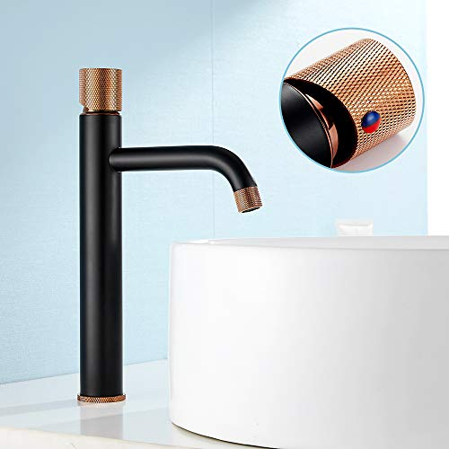 Grifo monomando Odomy para lavabo, color negro y oro rosa, moderno grifo mezclador para baño y aseo con ajuste de temperatura y caño bajo de latón