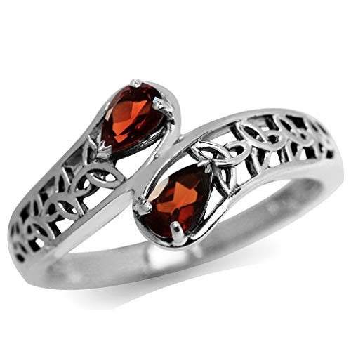 Natural Garnet 925 Sterling Silver Filigree Triquetra Celtic Knot Bypass Ring Size 8