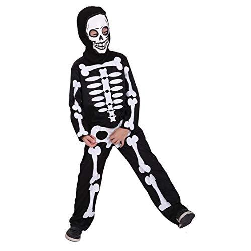 XKJFZ Kinder Schädel Trooper Kostüm Horrible Kostüm Maske, Schwarz, Size-lskeleton Sans Kostüm Skelett Anzug Mann Kostüm-erwachsen-Skelett-kostüm Bodysuit Skelett Jumpsuit Minion Socken