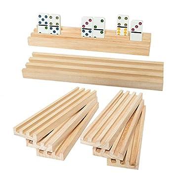Vumdua Wooden Domino Trays Set of 8 Domino Racks for Domino Tiles Domino Holders for Mexican Train Mahjong Chicken Foot Domino Games -Domino NOT Include