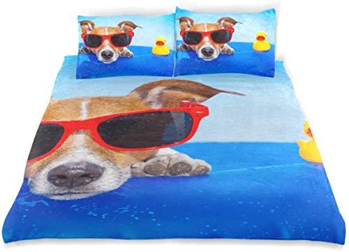 Duvet Cover Set Jack Russell Dog On Mattress Ocean Decorative 3 Piece Bedding Set with 2 Pillow Shams