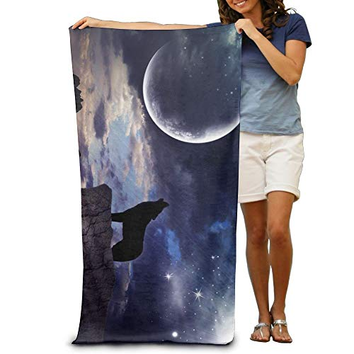 ETGBFH Howling Moon Space Wolf Beach Towels Novelty 100% Polyester Travel Bath Sheets Large Towel For Beach Blanket Cover Tent Floor Yoga Mat 31.5' X 51.2',Natural Soft Quick Dry