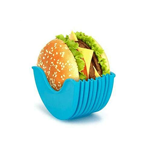 ZHANGMIN Higieniczna miska do bułek hamburgerowych wielokrotnego użytku, z tworzywa sztucznego, wysuwany klips hamburgerowy, wielokrotnego użytku, 2-częściowy (niebieski)