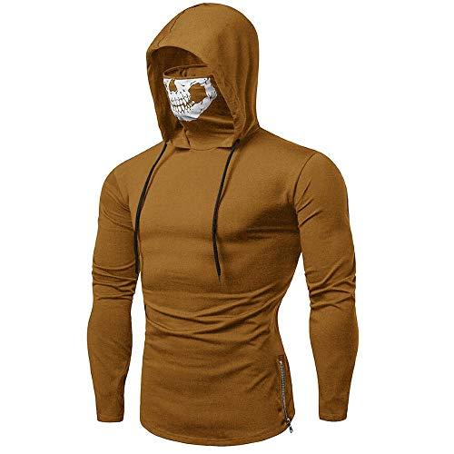 SANFASHION Herren Herren HoodedherrenMask Skull Sweatshirt Pure Color Pullover Langarm Kapuzenpulli Tops