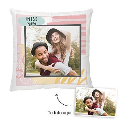 Fotoprix Cojín Personalizado con Foto a Partir de un diseño | Te Echo de Menos, Miss You | Regalo Original | Varios diseños y tamaños (Miss You 2, 35 x 35 cms)