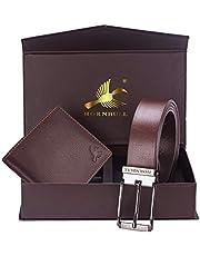 Hornbull Diwali Gift Set for Men's - Brown Wallet and Brown Belt Men's Combo Gift Set 4585