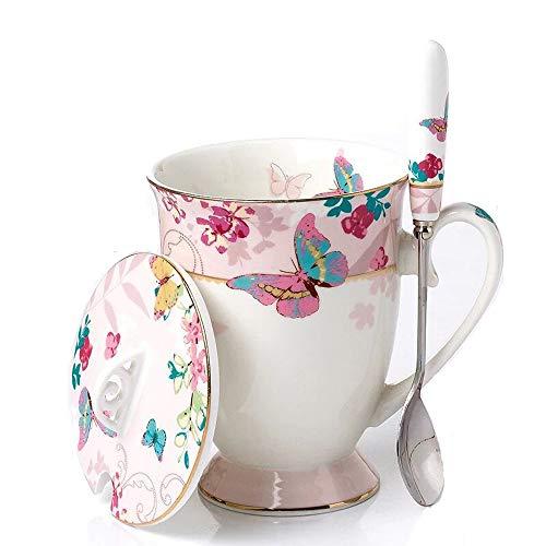 YBK Tech Euro Style Art - Taza de té de cerámica con tapa para desayuno, cocina casera (patrón de mariposas), color rosa