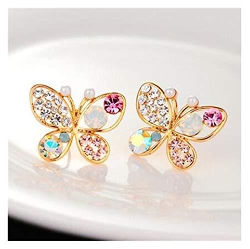 LCHB Pendientes Coloridos del Arco del Diamante de imitación (Color : E89)
