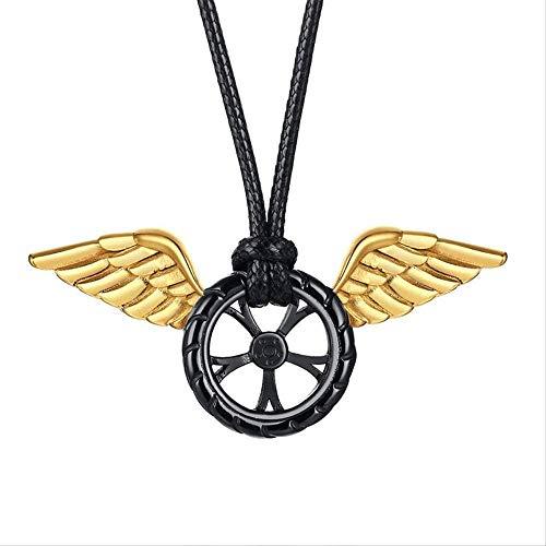 NC520 Wachs Seil Halskette Edelstahl Schwarz Autoreifen Golden Angel Wings Anhänger Halskette Persönlichkeit Herrenschmuck 65cm