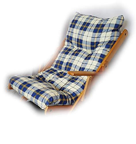 Totò Piccinni Cuscino Imbottito di Ricambio per Poltrona Sedia Sdraio Harmony Relax, 105x55x14cm (Blu Scacchi)