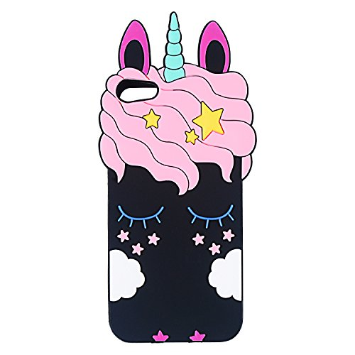Joyleop Black Unicorn Case for iPod Touch 6 5 Generation,Cute 3D Cartoon Animal Cover,Kids Girls Soft Silicone Gel Rubber Kawaii Fun Cool Unique Character Skin Protector Cases Touch 5th 6th Gen