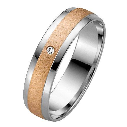 Liebe² 05003621703856 - Anillo unisex de oro bicolor (8k) con 1 diamante (talla: 16)